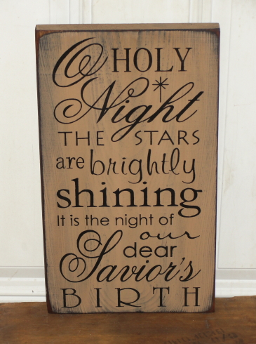 O Holy Night Primitive Wood Sign