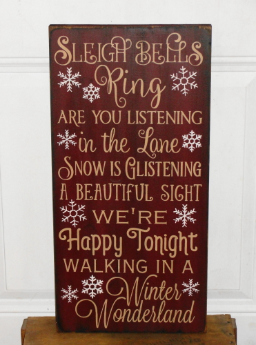Sleigh Bells Ring Typography Wood Christmas Sign