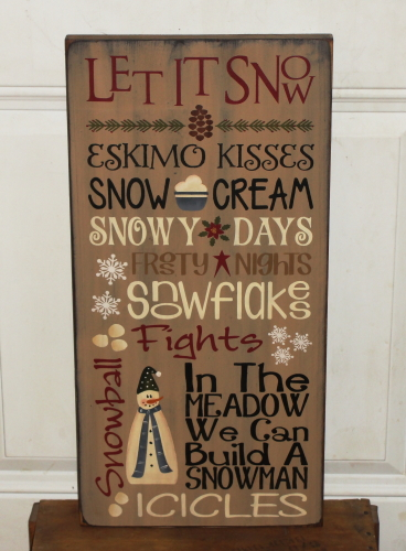 Let It Snow Primitive Wood Typography Sign