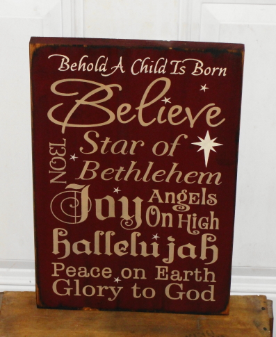 Behold A Child Is Born Primitive Wood Typography Christmas Sign