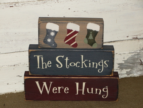 The Stockings Were Hung Primitive Wood Christmas Stacking Blocks