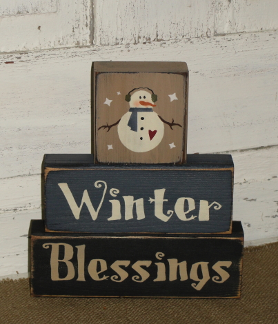 Winter Blessings Snowman Primitive Stacking Blocks
