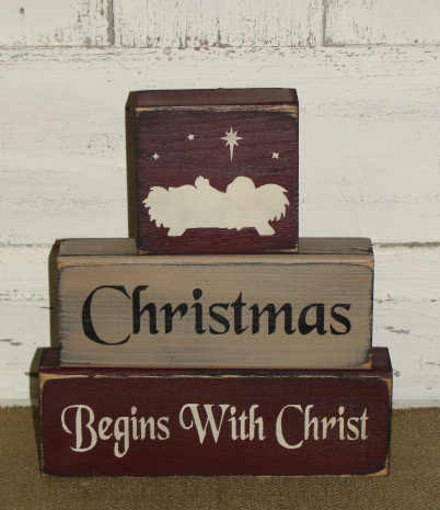 Christmas Begins With Christ Primitive Stacking Block Set
