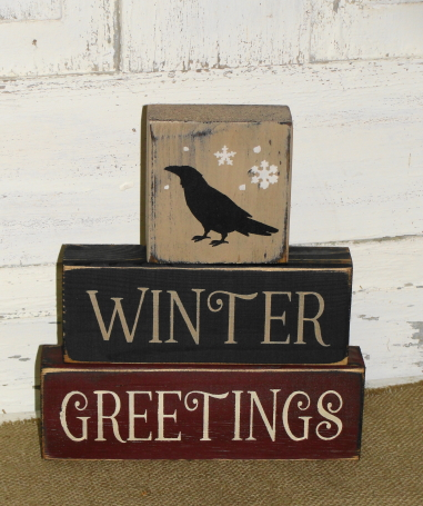 Winter Greetings With Crow Primitive Wood Stacking Blocks