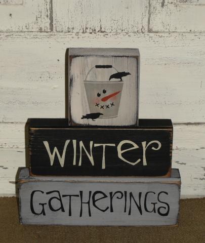 Winter Gatherings with Snowman Bucket Primitive Wood Block Set