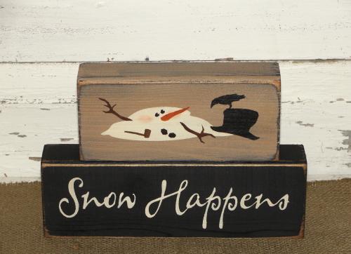 Snow Happens Primitve Wood Snowman Winter Block Set