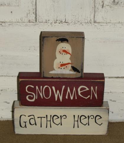 Snowmen Gather Here Primitive Wood Winter Stacking Blocks