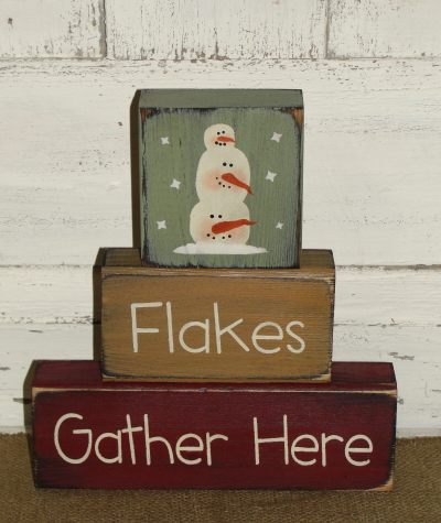 Flakes Gather Here Snowman Primitive Wood Winter Block Set