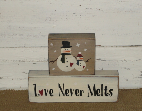 Love Never Melts Snowman Wood Stacking Blocks