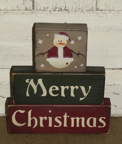 Merry Christmas Santa Snowman Winter Stacking Block Set