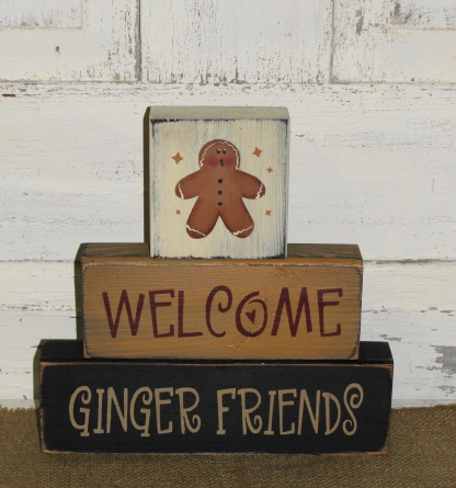 Welcome Ginger Friends Primitive Block Set