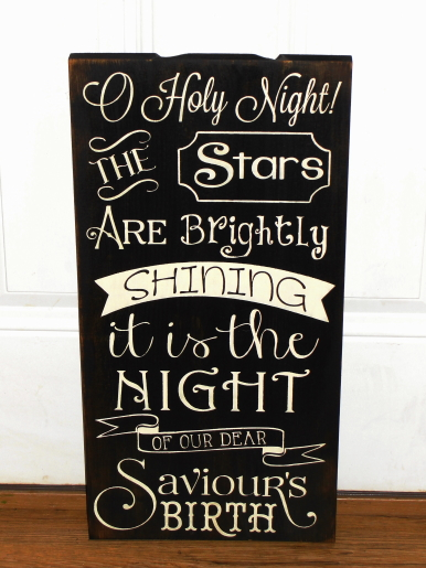 O Holy Night Primitive Wood Typography Subway Christmas Sign