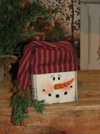 Wood Snowman Face Block with Homespun Hat Pine and Bell Shelf Sitter