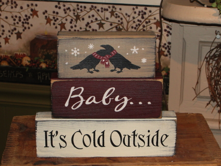Baby....It's Cold Outside Primitive Winter Wood Block Set with Crows