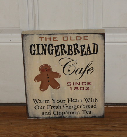 The Olde Gingerbread Cafe Primitive Wood Sign