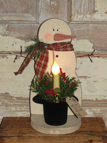 Primitive Wood Snowman with Frosty Hat Light Arrangement