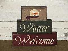 Winter Welcome With Snowman Wood Stacking Blocks