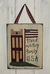 Primitive Saltbox Proud Military Family Americana Sign