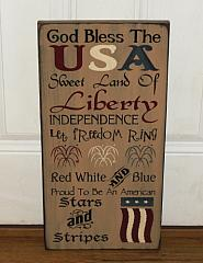 Primitive Americana God Bless The USA Patriotic Typography Sign