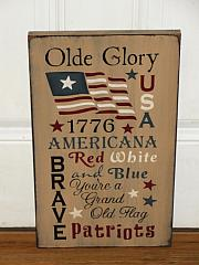 Olde Glory USA Primitive Americana Typography Wood Sign