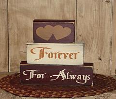 Forever, For Always Primitive Wood Block Set