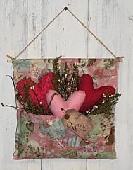 Pink Tone Vintage Valentine Wall Pouch with Three Primitive Hearts