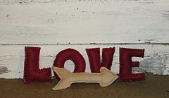 Valentine LOVE Letter Sitters with Tea-stained Primitive Arrow