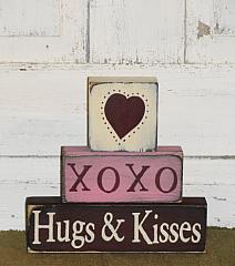 Heart XOXO Hugs and Kisses Primitive Wood Block Set