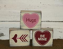 Valentine Hearts and Arrow Primitive Wood Block