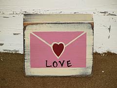 Love Letter Primitive Wood Block