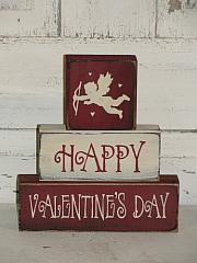 Happy Valentine's Day Primitive Wood Stacking Blocks