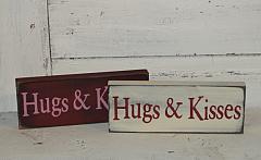 HUGS and KISSES Primitive Wood Sign / Shelf Sitter