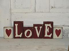 LOVE Tall Block Set with Hearts