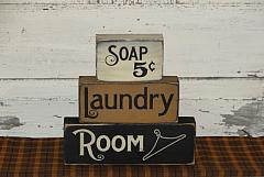Soaps 5 Cents Laundry Room Primitive Wood Stacking Blocks