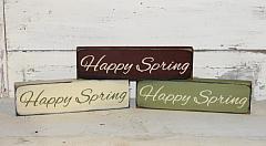 Happy Spring Primitive Wood Shelf sitter/Peg hanger