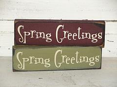 Spring Greetings Primitive Wood Shelf sitter/Peg hanger