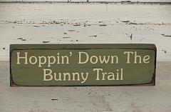 Hoppin' Down The Bunny Trail Primitive Wood Shelf sitter/Peg hanger