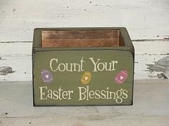 Count Your Easter Blessing Primitive Wood  Box