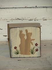 Bunnies with Grass and Flowers Wood Block Sitter