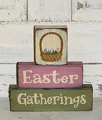 Easter Gathering with Easter Basket Primitive Wood Stacking Blocks