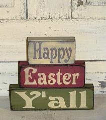 Happy Easter Y'all Primitive Wood Stacking Blocks