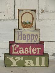 Happy Easter Y'all with Easter BasketPrimitive Wood Stacking Blocks
