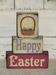 Happy Easter with Easter Basket Primitive Wood Stacking Blocks
