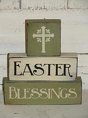 Easter Blessings with Cross Primitive Wood Stacking Blocks