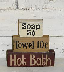 Soap 5 cents -Towel 10 cents - Hot Bath Primitive Wood Stacking Blocks
