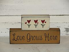 Love Grows Here Primitive Wood Stacking Block