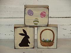 Bunny-Easter Eggs-Easter Basket Primitive Wood Shelf Sitters