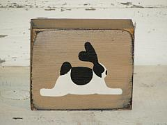 Black/White Bunny Wood Block Sitter