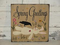 Spring Greetings Bunny and Crow Sign Primitive Wood Sign