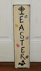 Primitive Handpainted Vertical Easter Spring Wood Sign with Cross Easter Eggs and Bunny